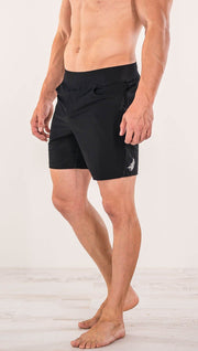 Close up right side view of model wearing black men's performance shorts