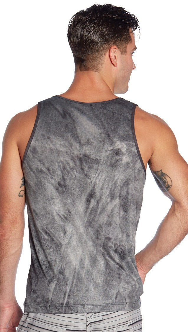front view of brushstroke inspired printed mens tank