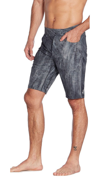 side view of brushstroke printed mens shorts