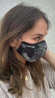 Right side view of model wearing a green camouflage mask