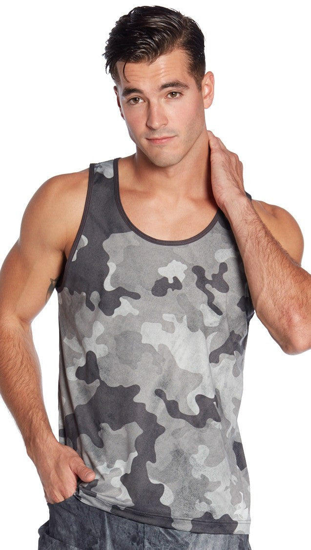 front view of camouflage printed mens tank