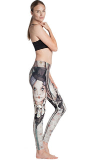 right side view of model wearing circus girl themed printed full length leggings