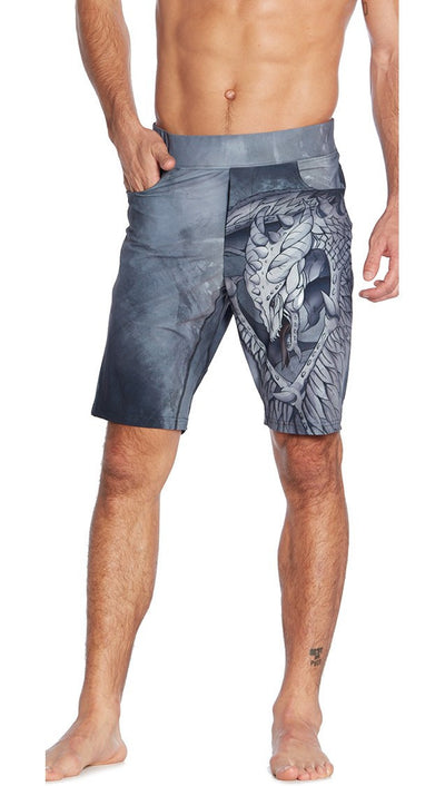 front view of dragon inspired printed mens shorts