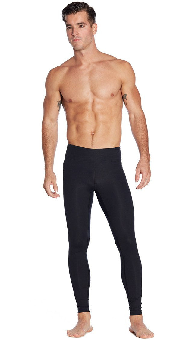 front view of full length black mens compression leggings