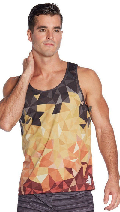 front view of geometric ombre flame inspired mens tank