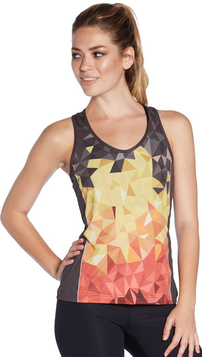 front view of geometric ombre flames printed tank top