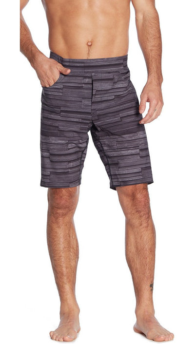 front view of stone texture inspired mens printed shorts