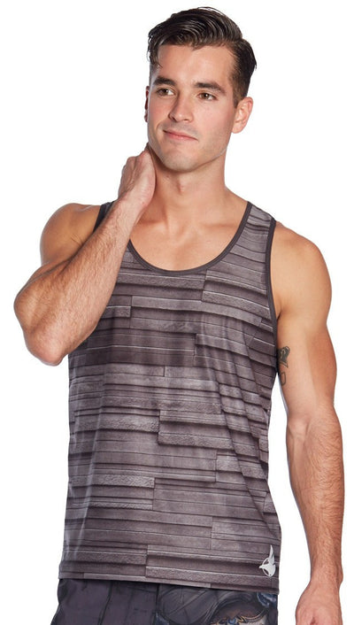 front view of stone texture printed mens tank