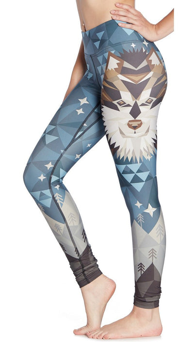 close up side view of wolf / dog themed printed full length leggings