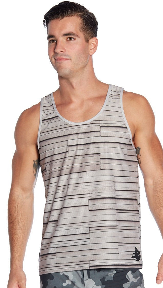 back view of model wearing light grey texture printed mens tank top