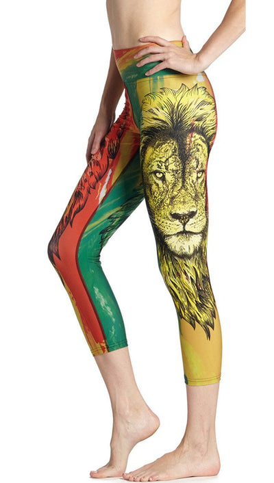 close up side view of rasta lion themed printed capri leggings