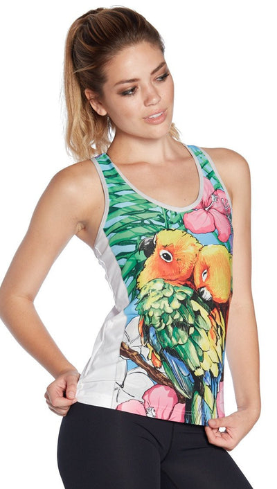 front view of colorful lovebirds printed womens tank top