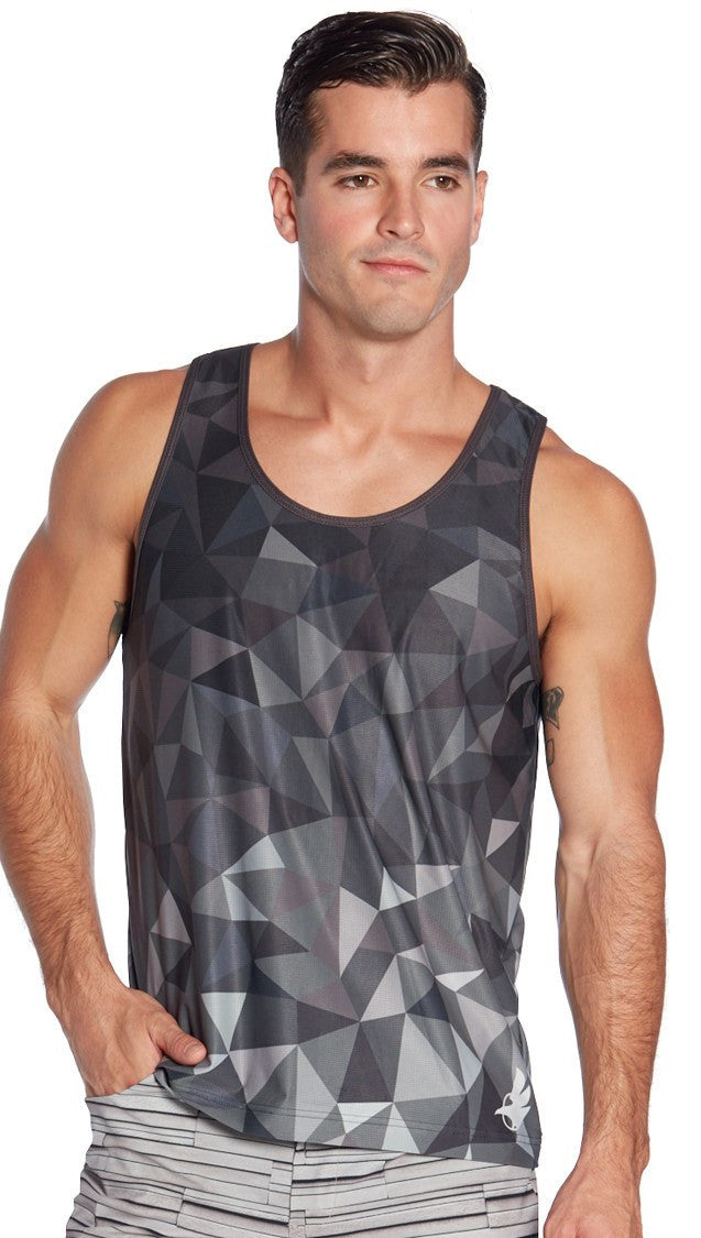 back view of black ombre geometric printed mens tank