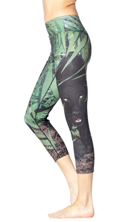 close up side view of panther themed printed capri leggings