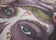 closeup view of rolled up sugar skull yoga mat design