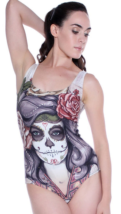 front view of sugar skull themed one piece swimsuit / leotard
