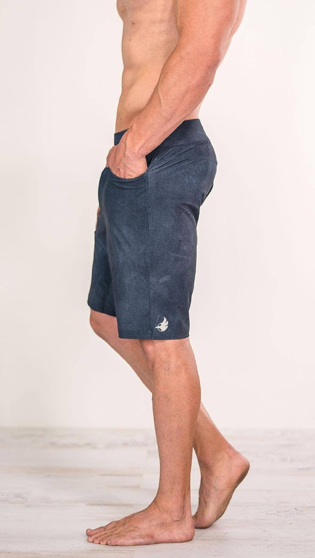 close up left side view of model wearing slate men's performance shorts