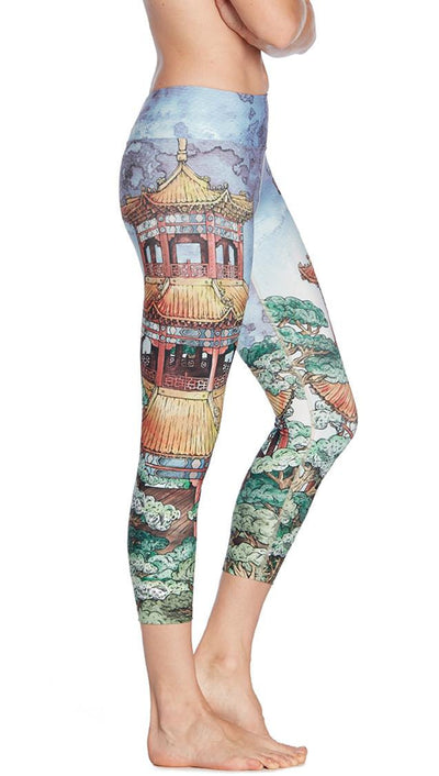close up side view of Japanese temple themed printed capri leggings