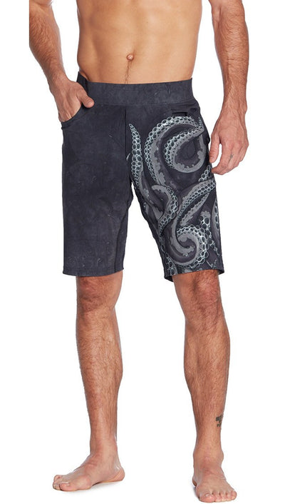 front view of tentacle inspired printed mens shorts