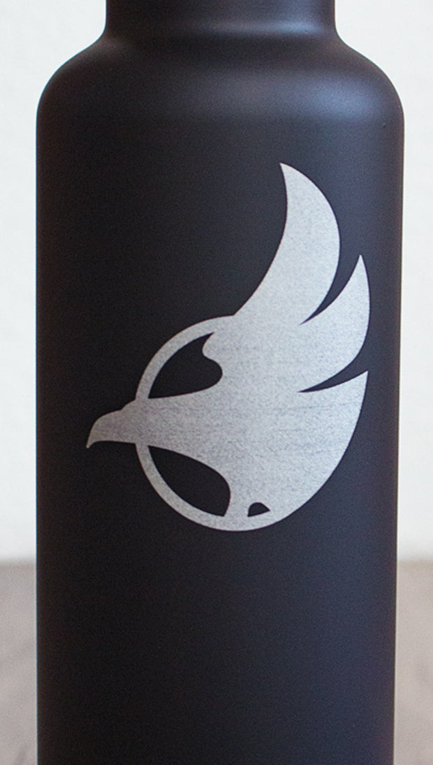 Closeup of black water bottle with Eagle Rock Werkshop logo.
