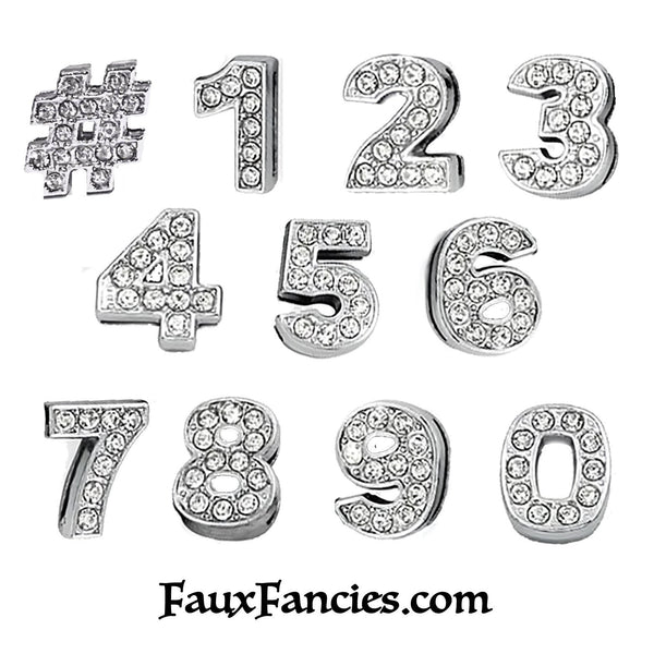 Rhinestone 8mm Slide NUMBER Charms