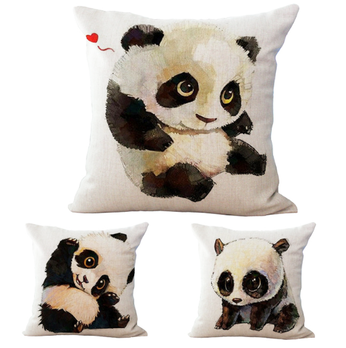 FLASH SALE Panda Cotton Pillow Case