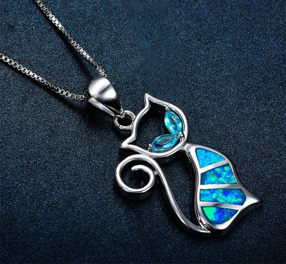Blue Fire Cat Necklace