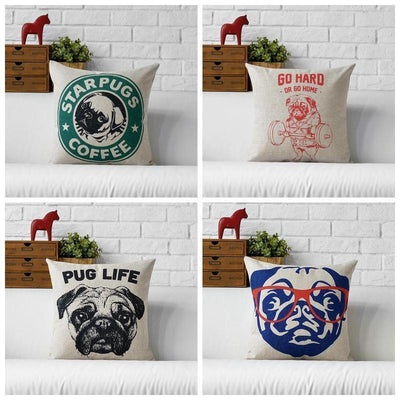 Beautiful Handmade Pug Cushion Cover 45cm x 45cm