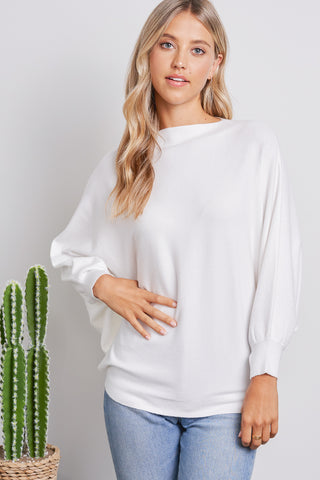 White Cashmere Blended Dolman Top