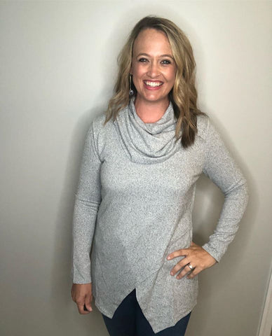 Cowl Neck Gray Top