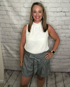 Gray High-Waist Shorts with a front tie