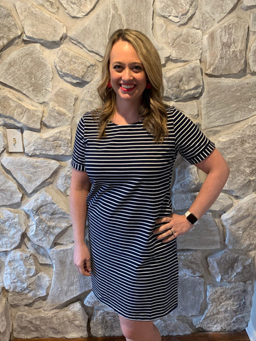 Striped Dress- Navy