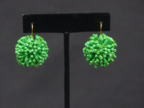 Acrylic Bar Ball Earrings Green