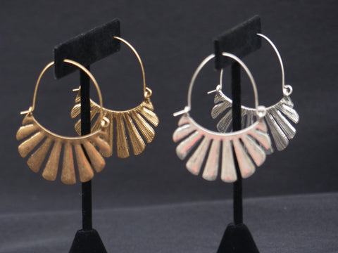 Fan Bar Dangle Hoops