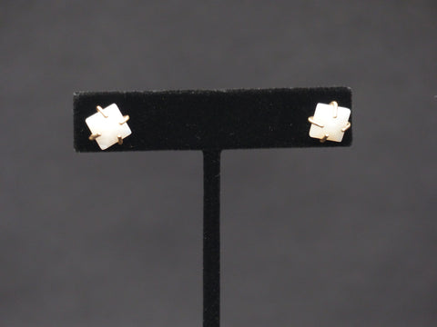 Square Stone with Metal Prong Studs