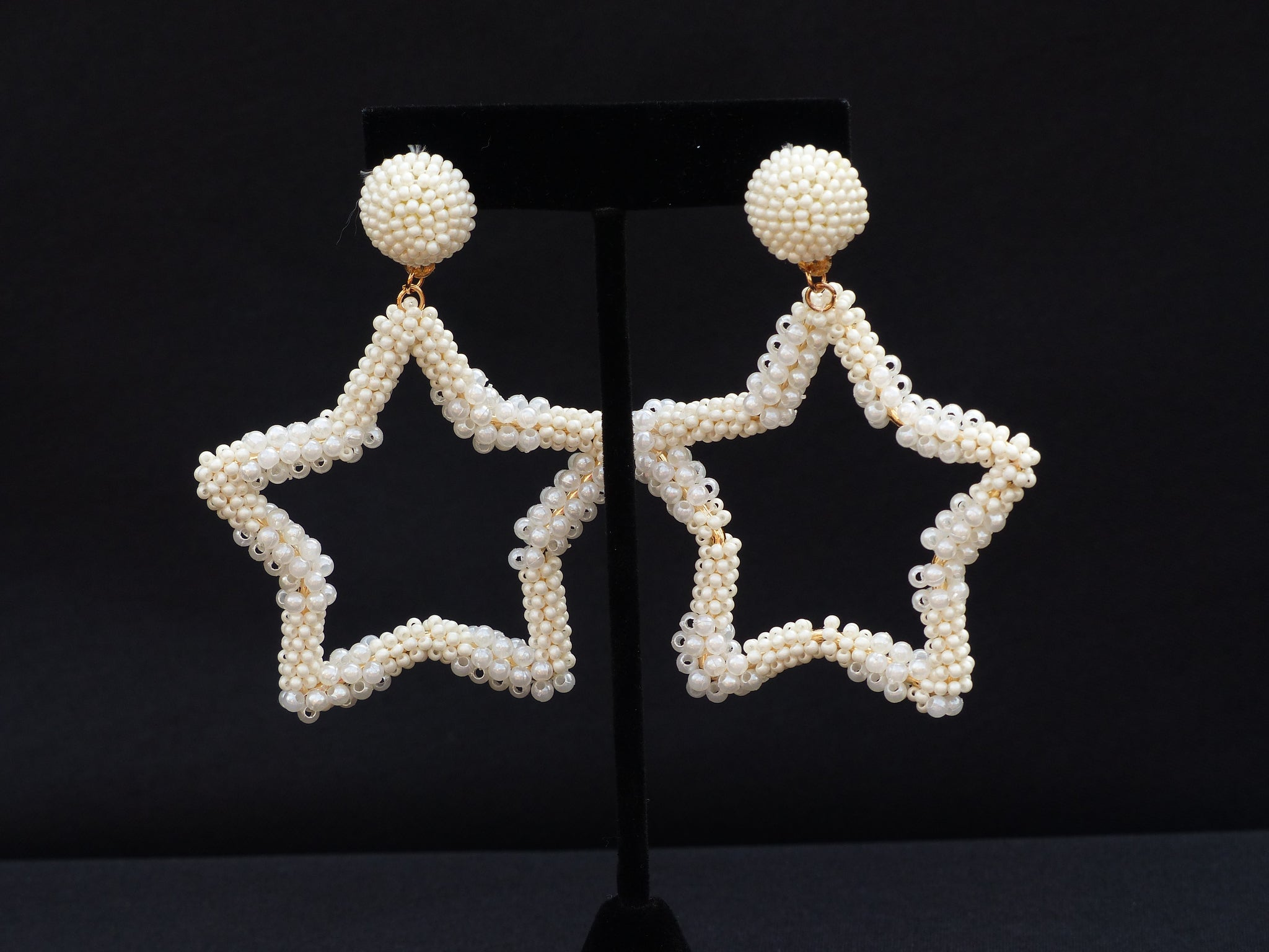 Star Pearl and Bead Earrings White
