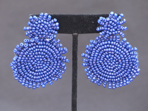 Double Bead Disc Earrings Navy
