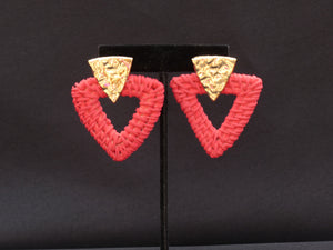 Rattan Triangle Earrings Red