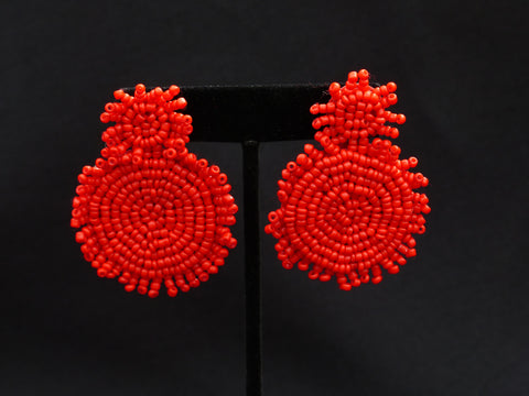 Double Bead Disc Earrings Red
