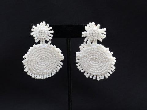 Double Bead Disc Earrings White