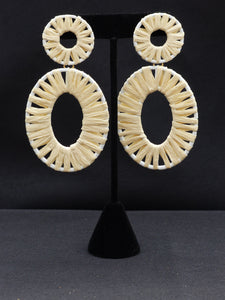 Raffia Wrap Circle & Oval Earrings Natural