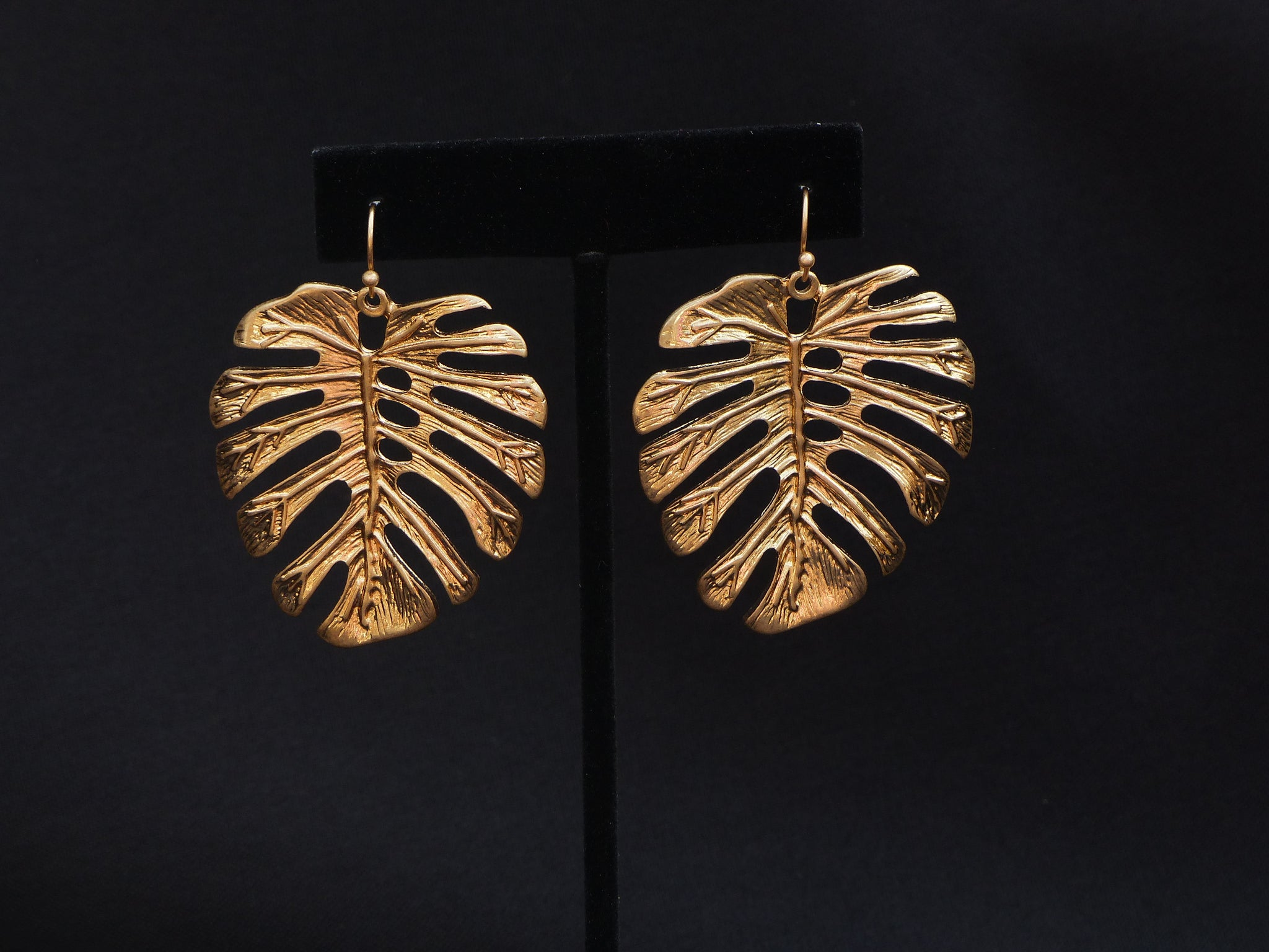 Tropical Leaf Earrings Worn Gold