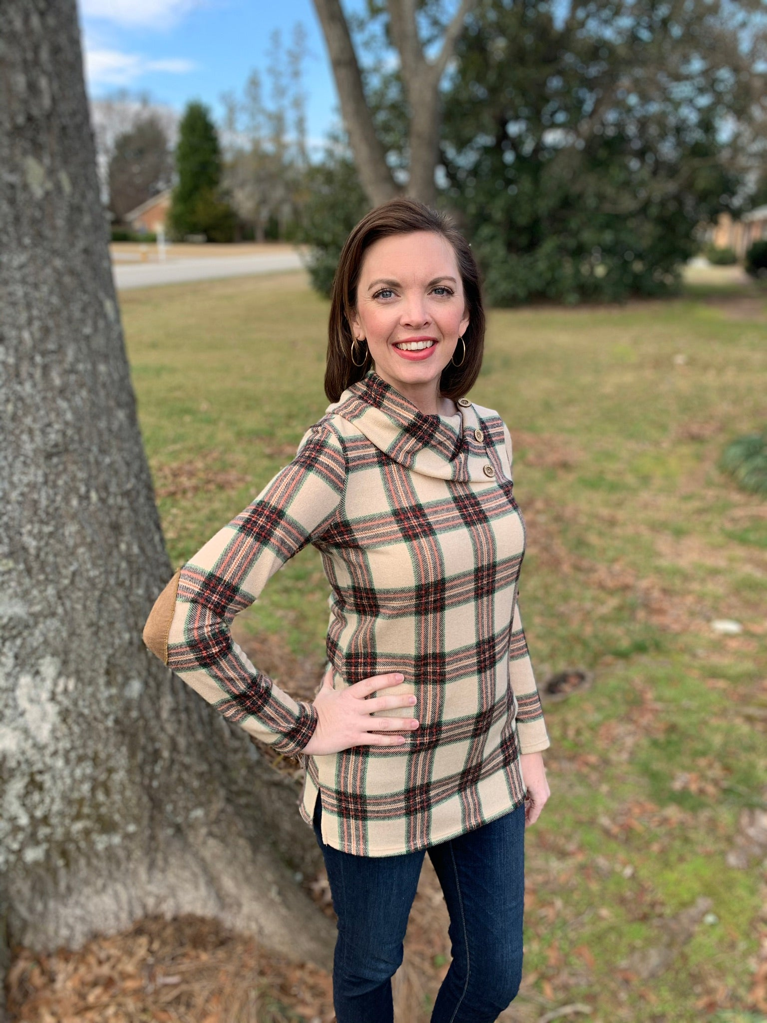 Plaid Top with Elbow Patches