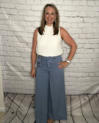 Blue Wide Leg Pants with Front Tie