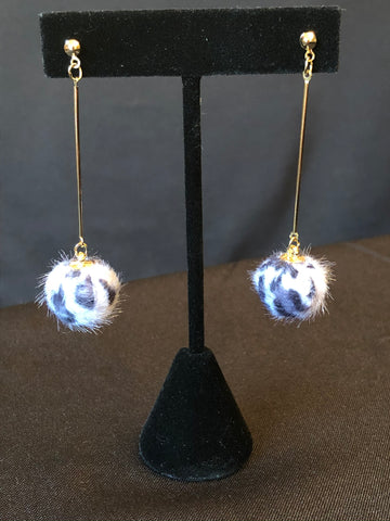 Animal Print Ball Earrings