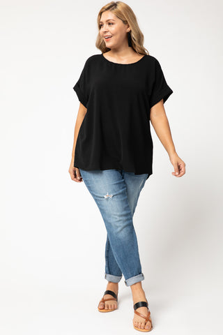 Short Cuffed Sleeve Top- Black