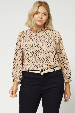 Taupe and Black Leopard Top