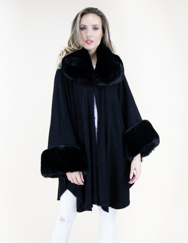 Faux Fur Neck and Sleeve Cape