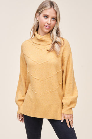 Mustard Balloon Sleeves Cowl Neck Sweater