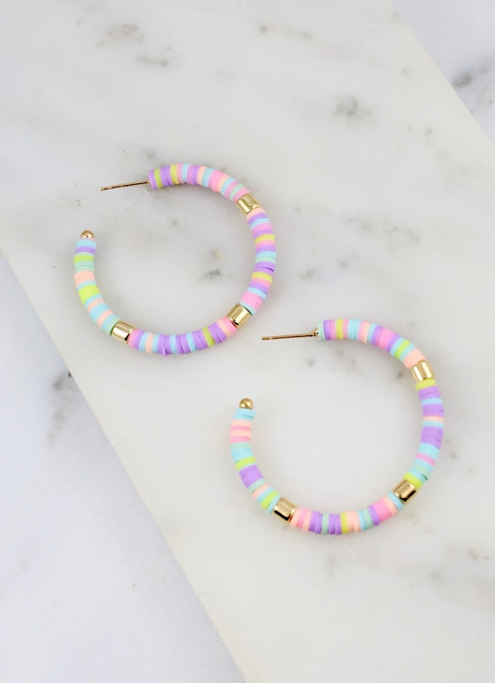 Pastel Stacked Disc Hoop Earrings
